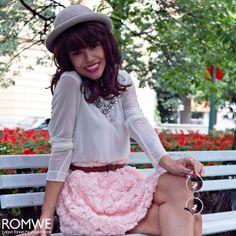 ROMWE Faux Roses Embellished Pink Bandeau Skirt
