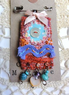 Textile Brooch by Thecraftmagpie on Etsy, $18.00
