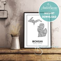 MICHIGAN ART PRINT, Instant Download, Michigan Print, Michigan State Print, Printables, Black and White Print, Michigan Art Prints by AmberstoneDesign on Etsy Stock Photo Websites, Zebra Decor, Black And White Printer, Nursery Letters, Photo Store, Amber Stone, Bear Art, Typography Art, Minimalist Art