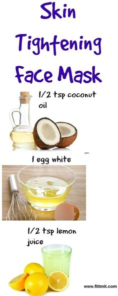 This skin tightening face mask does WONDERS for oily acne-prone and aging skin. Its so easy to whip up because all you need are 3 ingredients you probably already have in your pantry! This skin tightening face mask uses coconut oil egg whites and lem Belleza Diy, Tips Belleza, Homemade Face Masks, Homemade Skin Care, Organic Skin Care, Natural Skin Care, Organic Beauty, Natural Beauty, Natural Face Masks