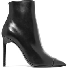 Saint Laurent Anja embellished smooth and croc-effect leather ankle... ($990) ❤ liked on Polyvore featuring shoes, boots, ankle booties, footwear, short black boots, black ankle booties, black bootie, high heel bootie and black booties