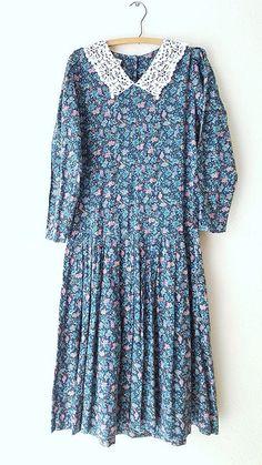 Ending Today! Laura Ashley Dress Size Medium Lace Collar Cotton Wool Full Drop Waist Vintage  #LauraAshley