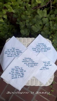 Set Of 5 Custom Embroidery Wedding Handkerchief by southernnsassy, $77.00