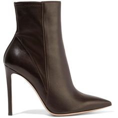 GIANVITO ROSSI Leather ankle boots (26.325 RUB) ❤ liked on Polyvore featuring shoes, boots, ankle booties, pointy toe booties, leather ankle booties, pointed toe bootie, stretch leather boots and leather high heel boots