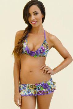 betsey johnson lilac bouquet bikini