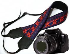 Lucky Elephant camera strap. Ethnic camera strap. Blue / red , DSLR / SLR Camera Strap. Photo Camera accessories. Great gift idea.