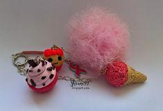ShauniPL: Różowy brelok. #pendant #pink #cupcake #icecream #pompom #brelok #babeczka #polymerclay #modelina #pompon