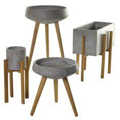 Cement planter ideas...?! Gotta find some wooden legs.. hummm..