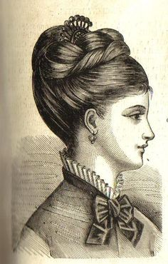 Vintage Hairstyles 1876 hairdo - I love this right down the the comb 1800s Hairstyles, Historical Hairstyles, Victorian Hairstyles, Vintage Hairstyles, Wedding Hairstyles, 1870s Fashion, Victorian Fashion, Flapper, Hair Comb