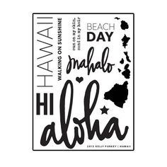 Hawaii Stamp Set from Kelly Purkey 3x4 photopolymer stamp set