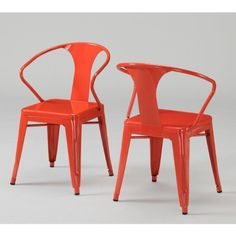 Merveilleux Set Of 4 Orange Metal Chairs In Glossy Powder Coated Finish Steel Stackable  D...: Home U0026 Kitchen | Powder Coated Products | Pinterest