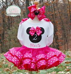 Minnie Mouse Ribbon Trimmed Tutu Birthday Set in Hot Pink Minnie/Fucshia ~ Includes Top/Onesie, Exquisite Tutu,, Hair Accessory
