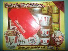 Vintage Kentucky Fried Chicken Server Set Mint in Original Box by H G Toys] Childrens Tea Sets, Chicken Toys, Kentucky Fried, Vintage Restaurant, Fast Food Chains, Kfc, Fried Chicken, Vintage Toys, 1970s