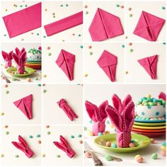 This bunny napkin fold is an easy way to dress up napkins on your Easter table . Bunny Napkin Fold, Napkin Folding, Serviettes Roses, Decor Crafts, Diy Crafts, Easter Peeps, Easter Bunny, Diy Ostern, Origami Easy