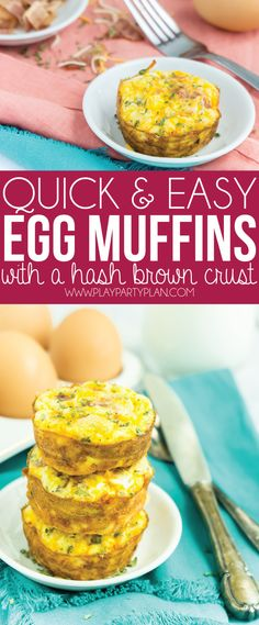 These egg muffins with a hashbrown crust are the perfect make ahead breakfast! Just fill them with bacon or sausage, bake, and pop in the freezer and reheat during the week. So easy! Want to make a low carb version that works for Keto or Whole 30? Simply take out the hash brown crust!
