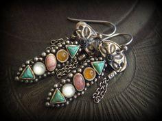 Turkoman Kuchi Tin Sterling Silver Gemstone Drop by YuccaBloom