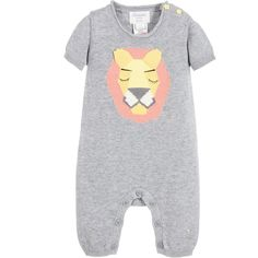 BONNIE BABY Baby Grey Knitted Cotton Romper