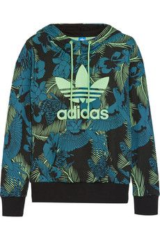 adidas Originals - Printed cotton-blend jersey hooded top 2e07fa662af