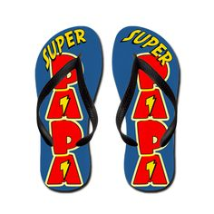 Super Papa Flip Flops. Super Papa! Show Papa how super he is with these superhero, comic book style flip flops. Great gift for Father's Day or any occasion.