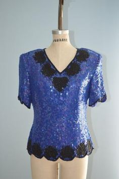 Abstract Crystal Beaded Top  Retro Rhinestone Blue Sequin Embellished Novelty Statement Piece