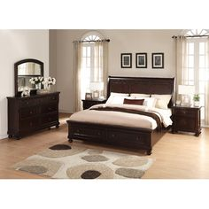 Roundhill Furniture Brishland Panel 5 Piece Bedroom Set