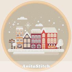Winter town landscape  Cross stitch pattern