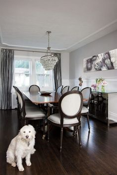 Mirrored buffet table dining room transitional with dark wood ...