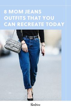 8 Mom Jeans Outfits That You Can Re-Create (Without Going Shopping! Mom Jeans Outfit, Black Jeans Outfit, Denim Outfit, Jean Outfits, Fall Outfits, Summer Outfits, Work Outfits, Plain White Sneakers, High Waisted Mom Jeans