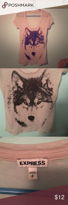 "Express *super soft* wolf graphic tee Super cute and INCREDIBLY SOFT! It's pretty thin. I always wore it with a black tank under or a bandeaux. It's a great top! It runs a little long (I'm 5' 3"") so I wore it with leggings most of the time. Bundle for more discounts  Express Tops Tees - Short Sleeve"