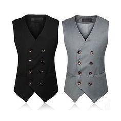 mens suit vest on sale at reasonable prices, buy Men's Clothing British Style Slim Colete Masculino Cotton Double Breasted Sleeveless Jacket Waistcoat Men Suit Vest from mobile site on Aliexpress Now! Mens Suit Coats, Mens Suit Vest, Mens Suits, Tailored Fashion, Mens Fashion Suits, Fashion Outfits, Style Fashion, Dress Suits For Men, Men Dress