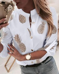 2019 Fashion Woman Pineapple Printed Blouse White Casual Long Sleeve Shirt Fall New Female Blusas Tops With Button Plus Size Trend Fashion, Look Fashion, Fashion Ideas, Unique Fashion, Fashion Outfits, Classic Fashion, Vogue Fashion, Fashion Hair, Aesthetic Fashion