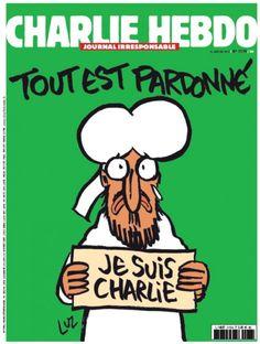"""C'è una vignetta di Maometto sulla copertina del nuovo numero di Charlie Hebdo. Il profeta regge un cartello con la scritta: """"Je suis Charlie"""". Sulla sua testa campeggia la frase: """"Tout est pardonnè"""", (è tutto perdonato). La prima è stata anticipata co"""