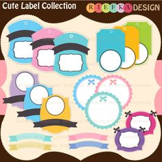 Cute Label Collection - perfect for craft projects, scrapbooking, invitations, web design and more.