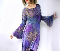Purple dress hand printed cosmic cocktail dress with long dramatic bell sleeves sculptural artistic ethereal woodland avant garde art dress
