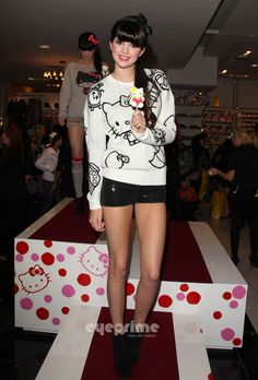 Kendall or Kylie Jenner, I can remember which is which, at Forever 21 Hello Kitty Launch