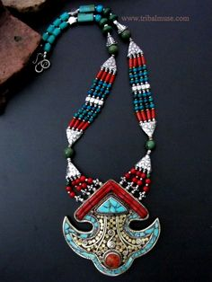 Tibetan Tribal Jewelry Ornate Rams Horn Pendant Necklace