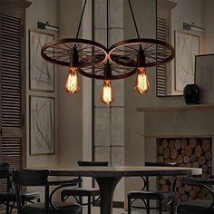 Lixada Vintage Retro Pendelleuchte Wasserrohr Geformt E27 Hängelampe mit 5 Fassungen Bronze