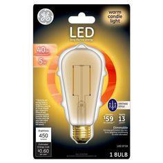 GE Led 40Watt Vintage Style Aline Light Bulb (1Pk) - Warm Candle Light