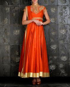 Orange Anarkali with Embroidered Yoke - Rohit Bal - Designers