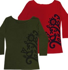 This would be done Alabama Chanin style beanstalk 3/4 sleeve tee