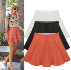 3 Color 2014 Women New Fashion Spring and Summer Knitted Short Skirts OL Ladies High Waist Solid Elastic Umbrella Skirt $9.99