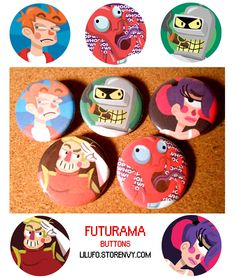 Conquer the future with a set of 5 Futurama themed buttons featuring a whooping Zoidberg, an unsure Fry, the lovable bender, Leela, and Captain Zap Brannigan! #futurama #leela #zoidberg #bender