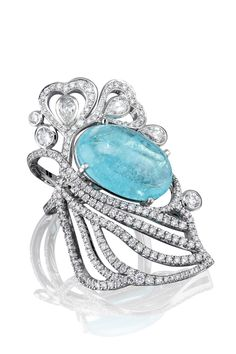 The 'Atlantic Blue' ring from Boodles' 'Ocean of Dreams' collection. This vibrant Paraiba tourmaline takes centre stage in this platinum and diamond creation.