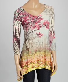 This Pink Cherry Blossom Sidetail Top by Citi Life is perfect! 95% polyester / 5% spandex vegan cruelty free blouse shirt. Just gorgeous.