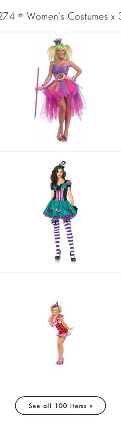 """274 # Women's Costumes x 3"" by velloxal ❤ liked on Polyvore featuring costumes, adult clown costumes, clown halloween costume, adult halloween costumes, clown costumes, adult costumes, mad hatter costume, lady costumes, womens halloween costumes and womens costumes"