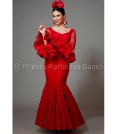 trajes de flamenca 2016 mujer - Aires de Feria - Paseo plumeti rojo