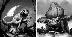 Creepy Pokemon by Artist David Szilagyi - Creepy Pokemon, Spooky Scary, Pokemon Fusion, Best Funny Pictures, Horror, Artsy, Creatures, David, Batman