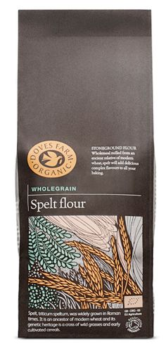 Doves Farm organic wholegrain flour packaging with illustrative detail designed by Studio h.