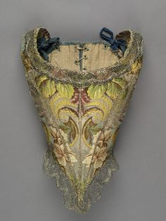 "ROM Textiles on Twitter: ""Boned bodice with removable modesty piece. Brocaded polychrome silk with silver thread, 1735. https://t.co/gVmP6n5qmr"""