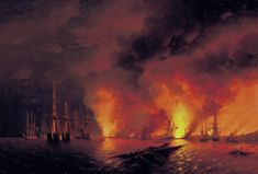 Ivan Aivazovsky (1817–1900)   The Sinopskiy Battle on the 18th November of the 1853 year (Night after Battle). Current location: Central Naval Museum  St. Petersburg Battle_of_Sinop.jpg 2,067×1,400 pixels
